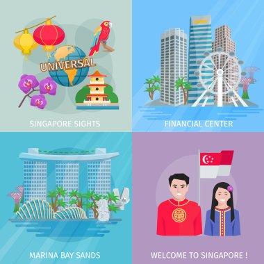 Singapore Culture 4 Flat Icons Square