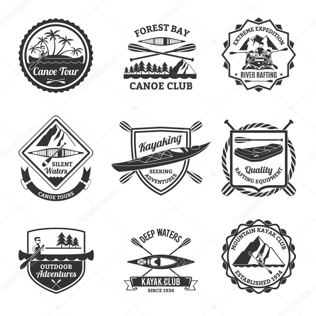 Rafting Canoeing And Kayak Emblems Set