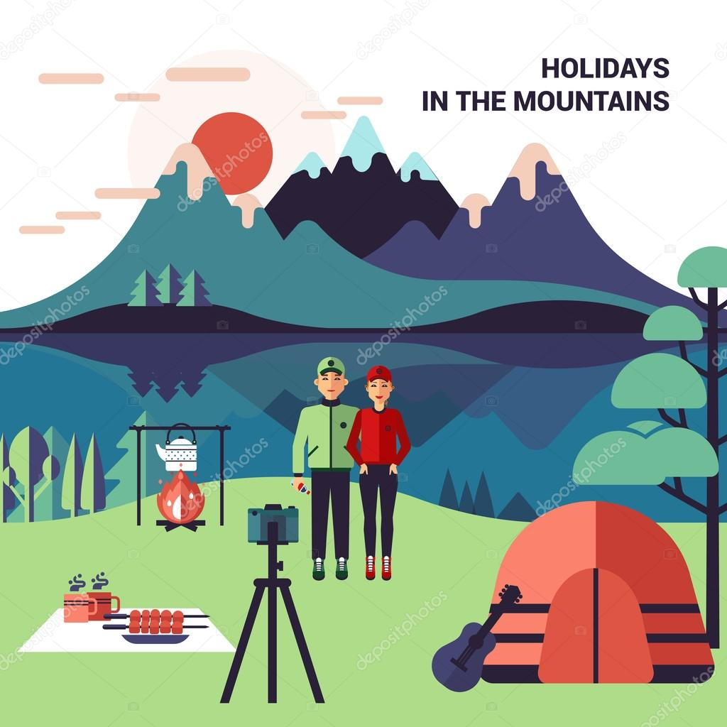 camping in mountains vector illustration ストックベクター