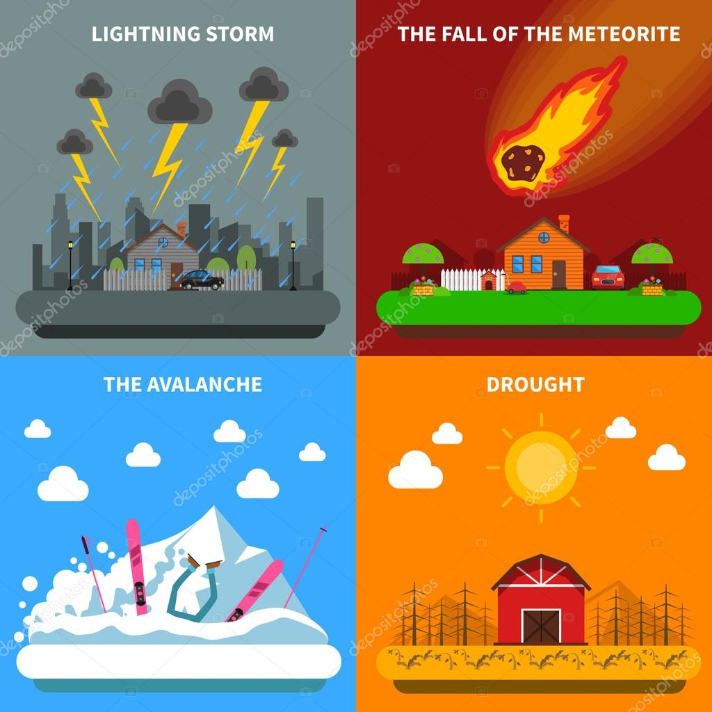 Disaster Concept 4 Flat Icons Square Banner