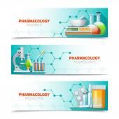 Farmakologie 3 horizontální bannery sada