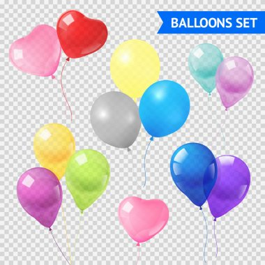 Air balloons in different shapes and colors realistic set on transparent background  isolated vector illustration clip art vector