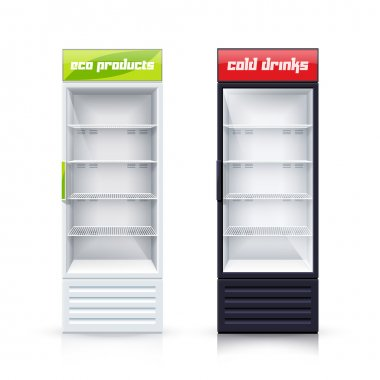 Two Empty Fridges Realistic Illustration