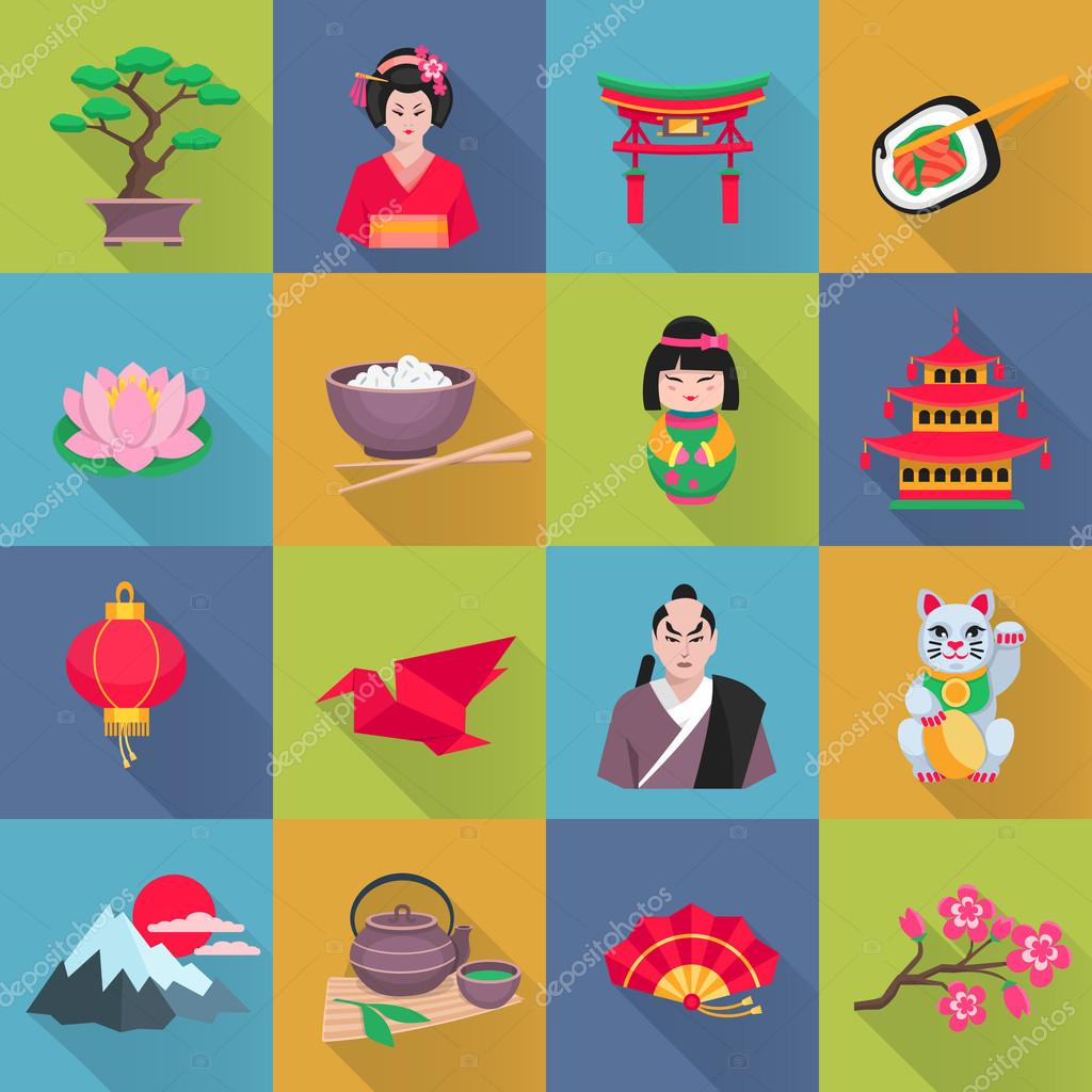 Japanese Culture Symbols Flat Icons Set Stock Vector Macrovector