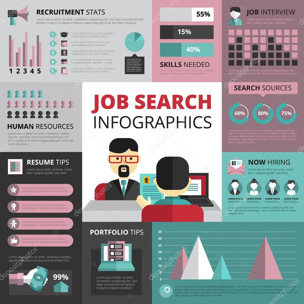 Trabajo búsqueda estrategia plano infografía Banner — Vector de ...