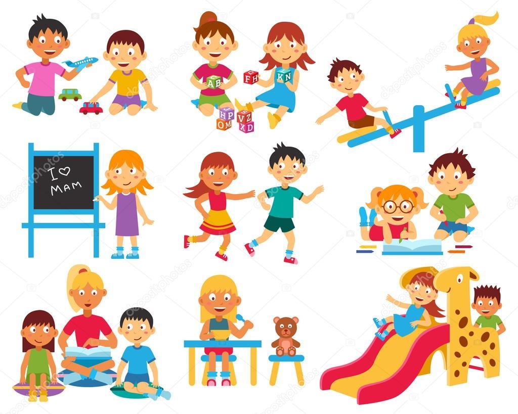 Conjunto de iconos de jard n de infantes archivo for Canciones de jardin infantes