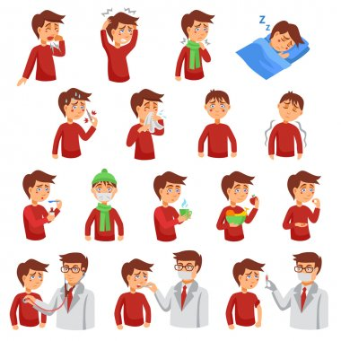 Flu illness cartoon icons with unhealthy people and doctors helping diseased patients flat vector illustration stock vector