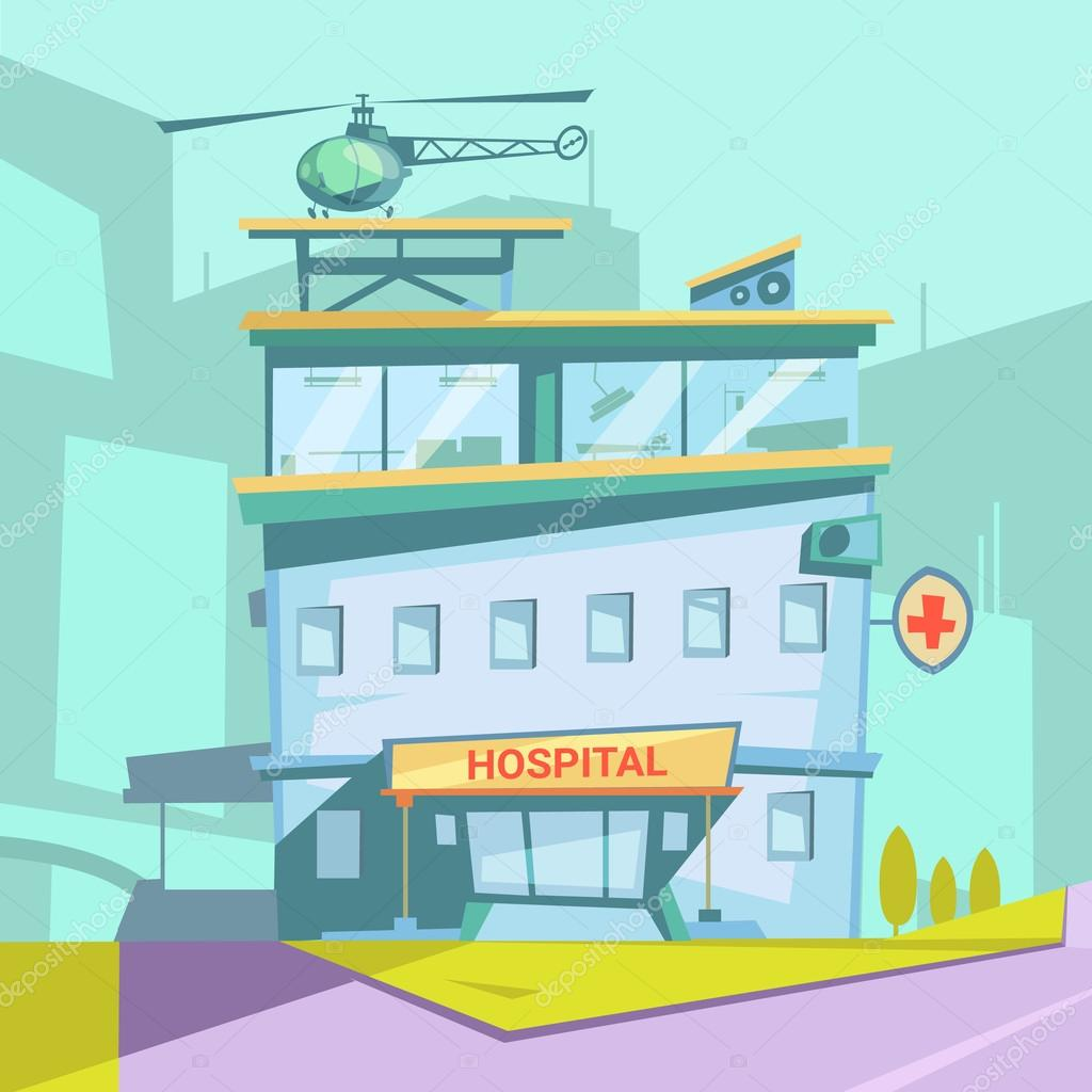 Dibujos animados retro edificio hospital vector de stock dibujos animados retro edificio hospital vector de stock malvernweather Images