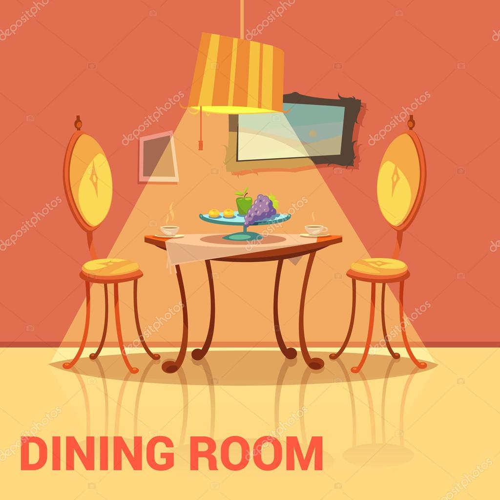 Dining Room Retro Design Stock Vector Macrovector