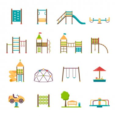Playground flat icons set with swing carousels slides and stairs isolated vector illustration stock vector
