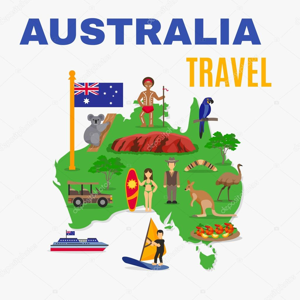australia travel map poster with animals food people transport at green continent on white background vector illustration vector by macrovector