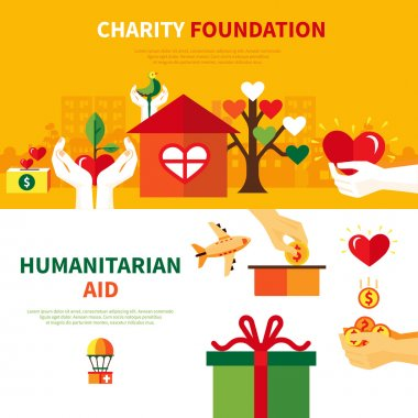 Charity foundations for humanitarian aid 2 flat horizontal banners set with heart and donation symbols abstract vector illustration stock vector