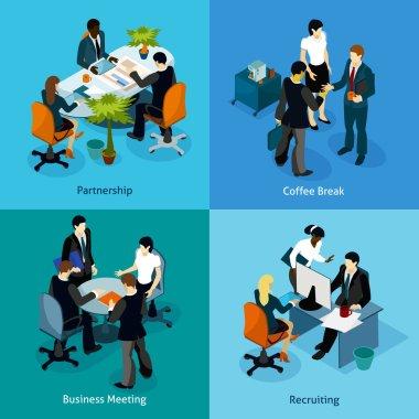 Business People Isometric Icon Set