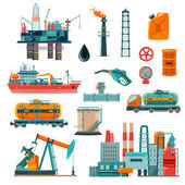 Photo Oil Industry Cartoon Icons Set