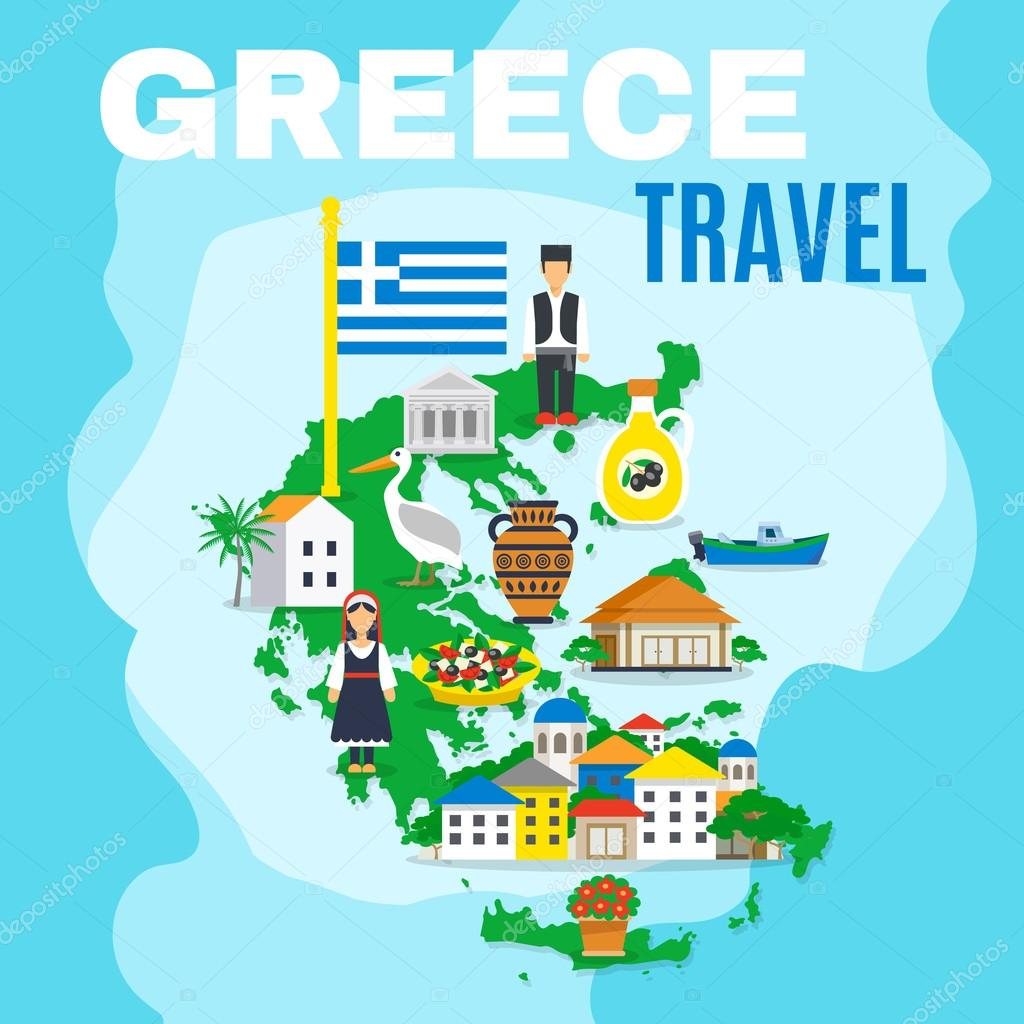 Map Greece Poster