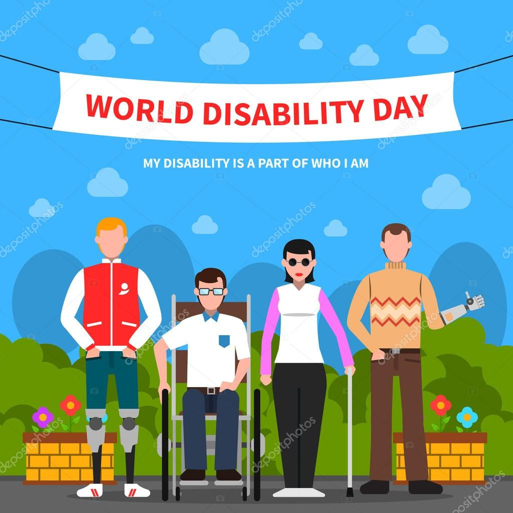 People With Disabilities Support Flat Poster