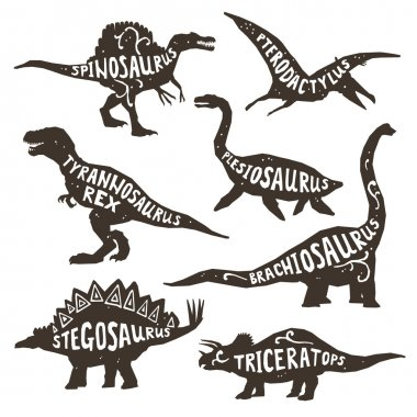 Dinosaurs Silhouettes With Lettering