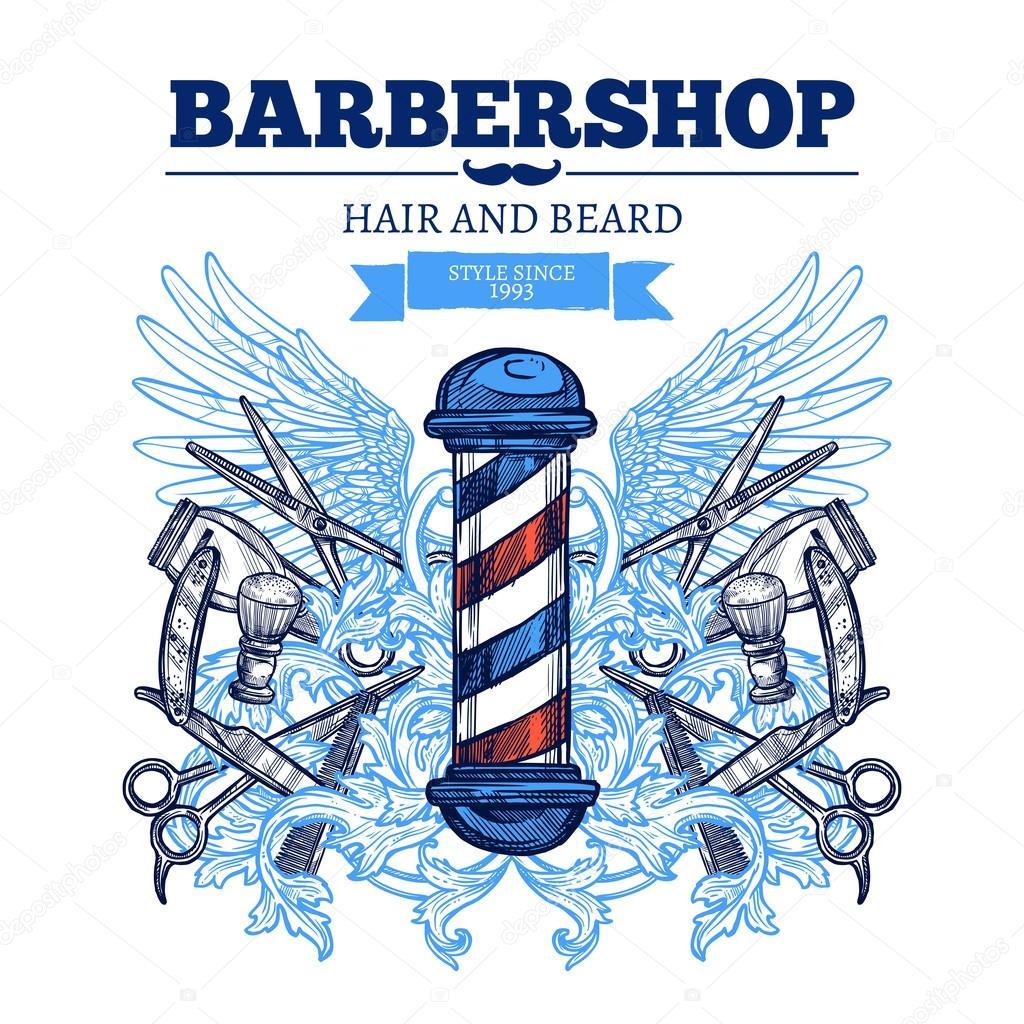 Loja propaganda Poster plana do barbeiro — Vetores de ...