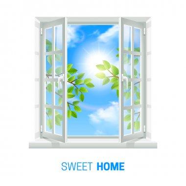 Open Window Sunny Day realistic Icon