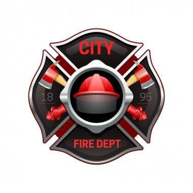 Fire Department Emblem Realistic Image Illustration
