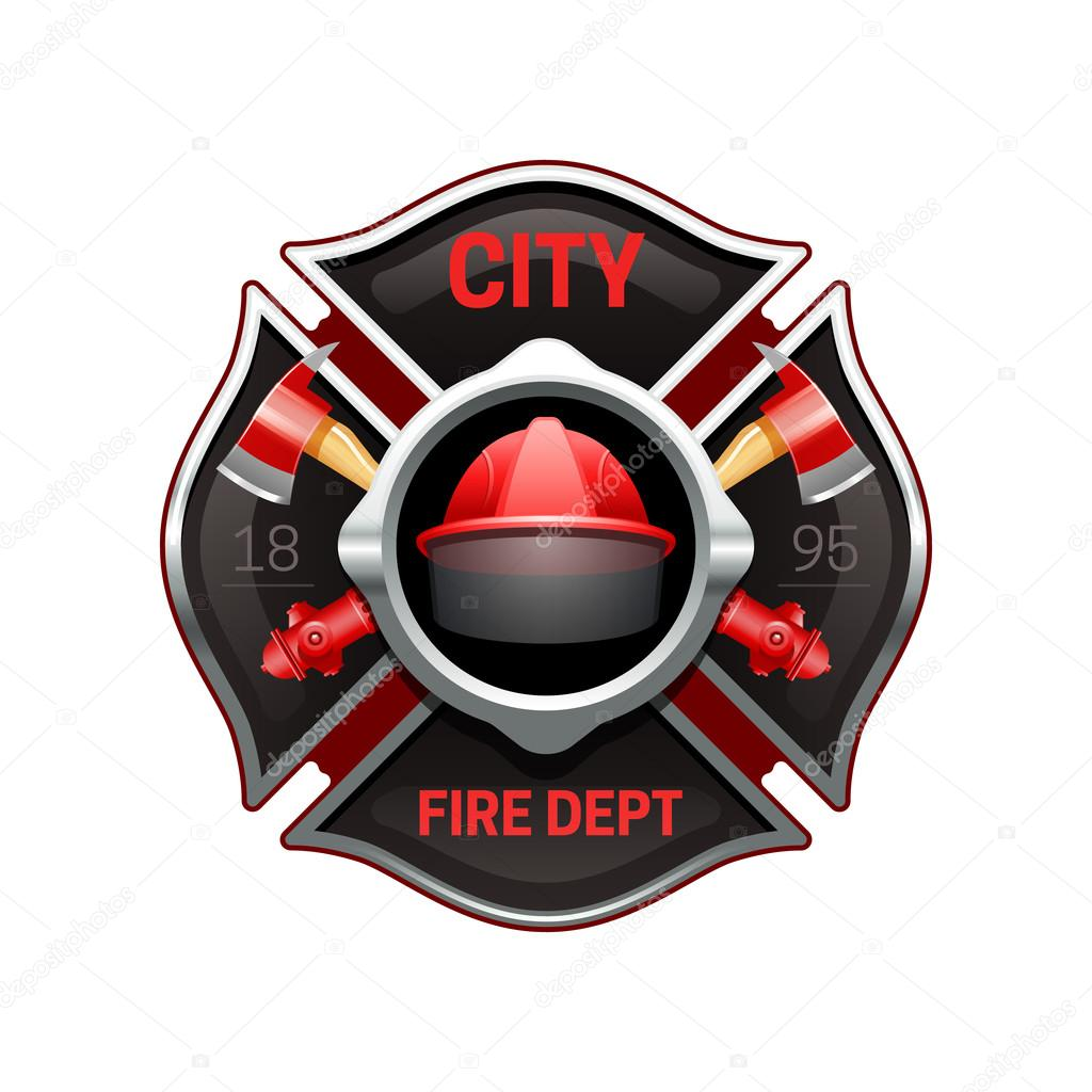 fire department emblem realistic image illustration stock vector rh depositphotos com fire department graphic design fire brigade logo design