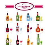 Alkoholos italok italok lakás ikonok beállítása