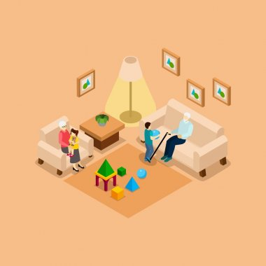 Grandparents With Children Home isometric Banner