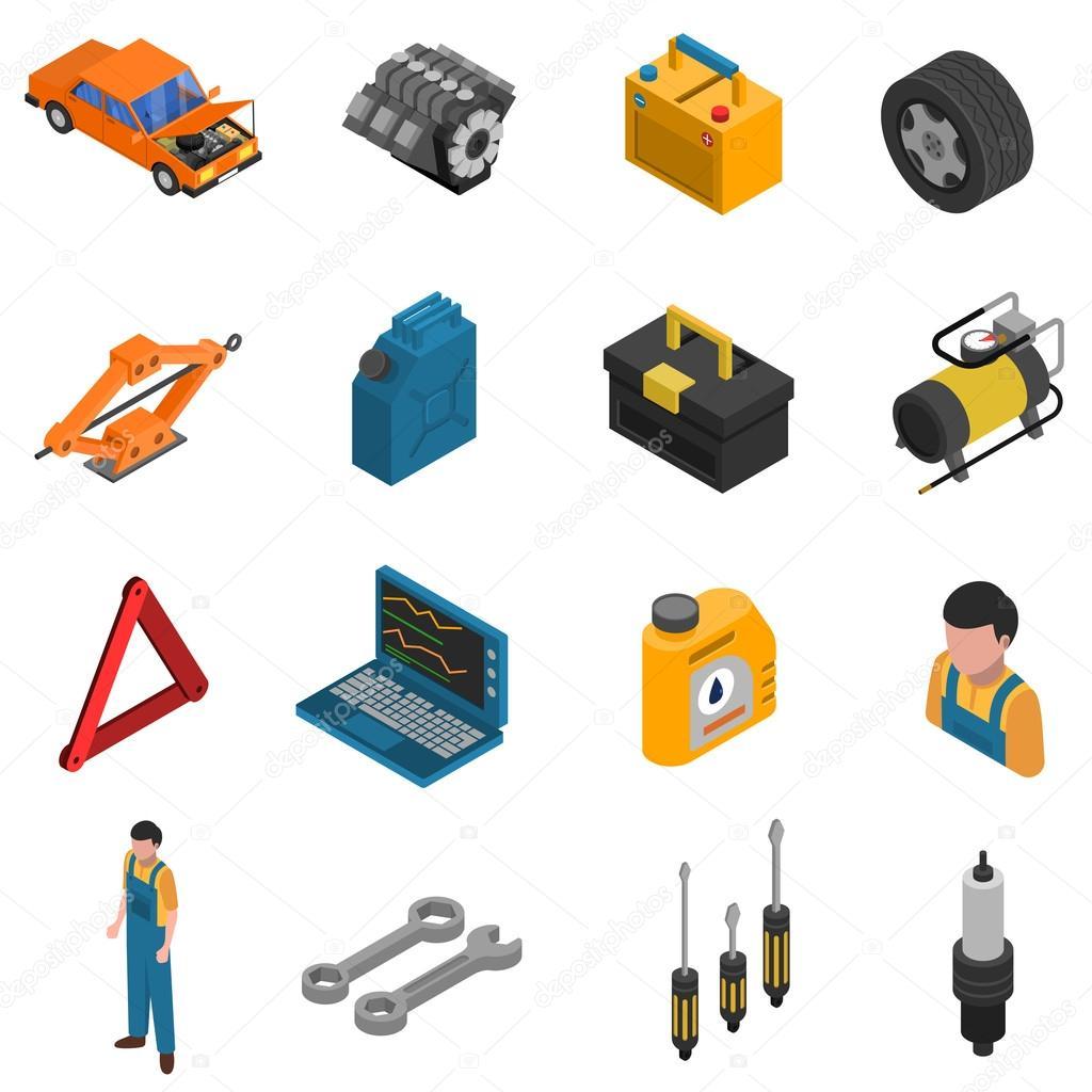 Car Service Isometric Isolated Icon Set
