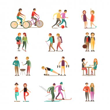 Friends And Hobbies Decorative Icons Set