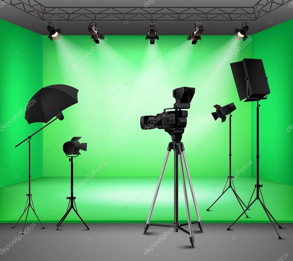 Realistische groen scherm Studio interieur — Stockvector ...