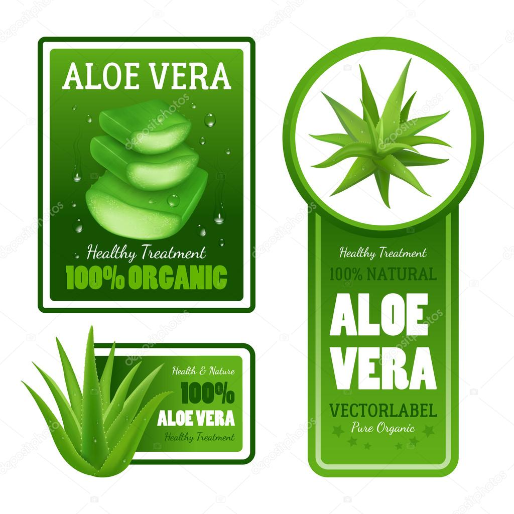 Aloe Vera Leaves Label Banners Set