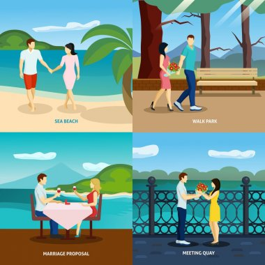 People fall in love flat set with romantic couples dating outdoors vector illustration clip art vector