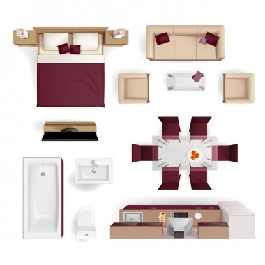 Interior Elements Top View Realistic Image