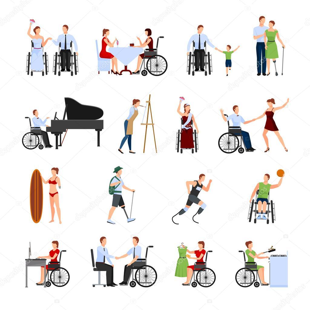 personas con discapacidad plano conjunto de iconos wheelchair clipart transparent wheelchair clip art png