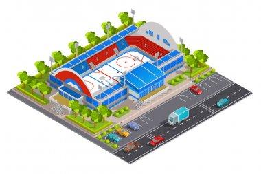 Sport Complex Stadium Isometric Banner