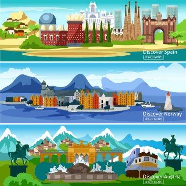 European Touristic Banners Set