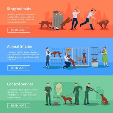 Stray Animals 3 Horizontal Banners Set