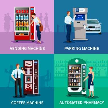 Vending Machines Concept Icons Set