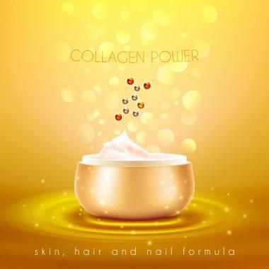 Collagen Skin Cream Golden Background Poster