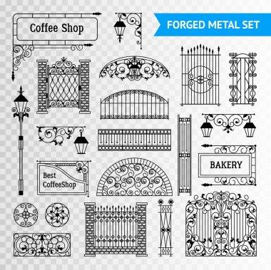 Decorative Forged Metal Elements Set Black