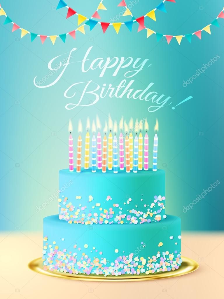 Happy Birthday Message With Realistic Cake Stock Vector