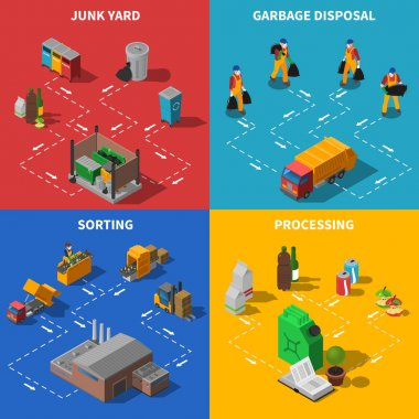 Garbage Recycling Isometric Concept Icons Set