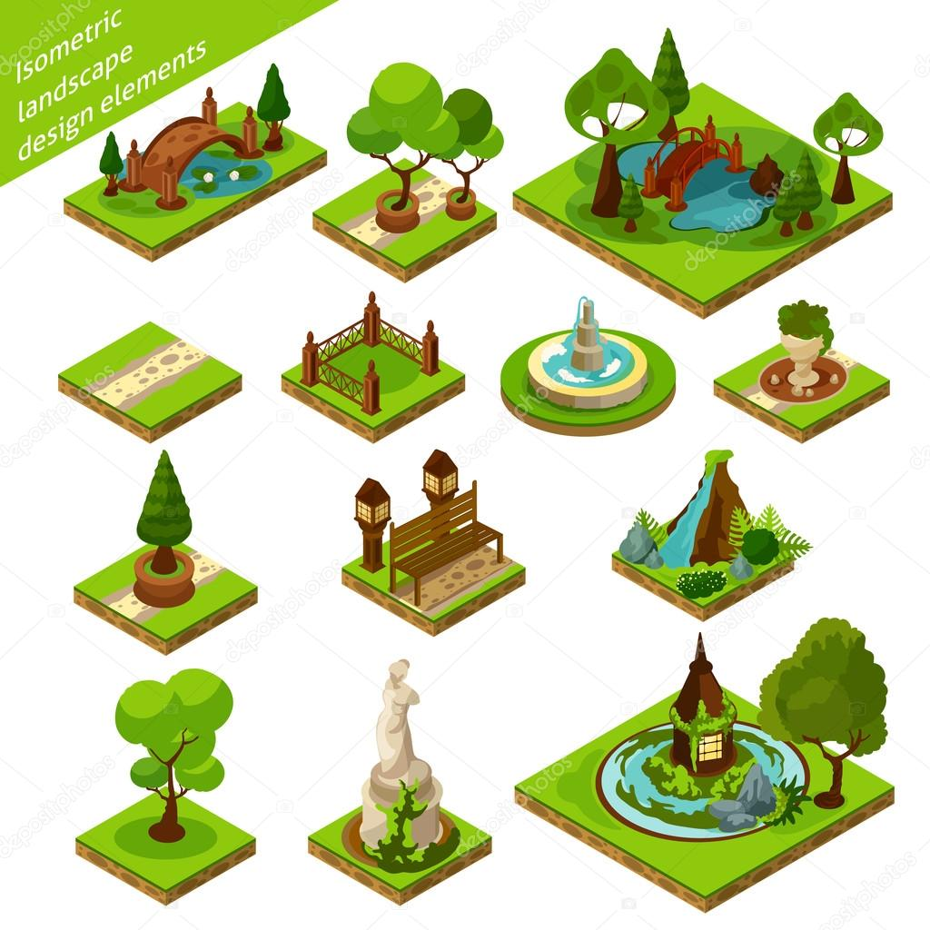 Isometric Landscape Design Elements