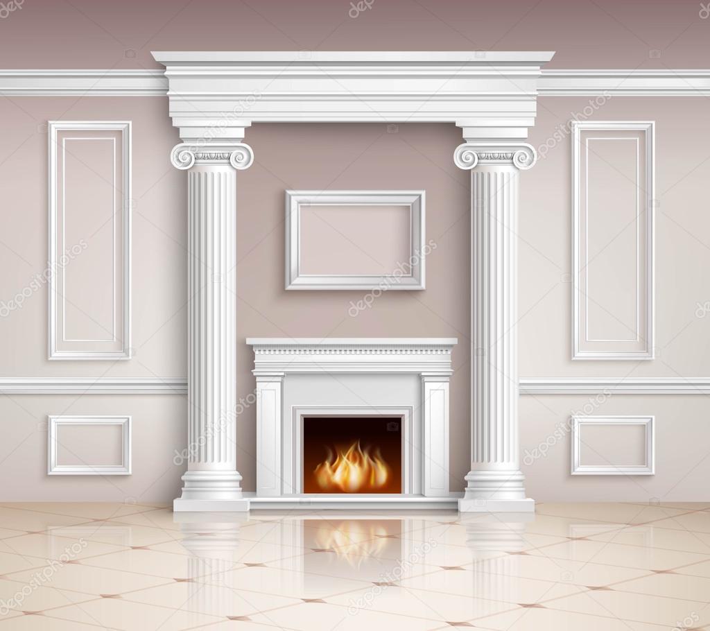 Clásico Interior con chimenea de diseño — Vector de stock ...