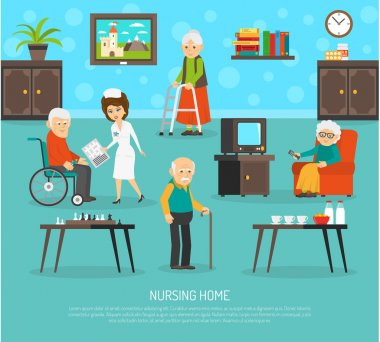 Old People Nursing Home Flat Poster