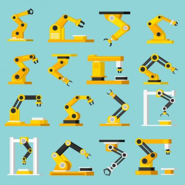 Industrial mechanical automation conveyor robotic hands for manufacture orthogonal flat isolated icons set on light blue background vector illustration stock vector