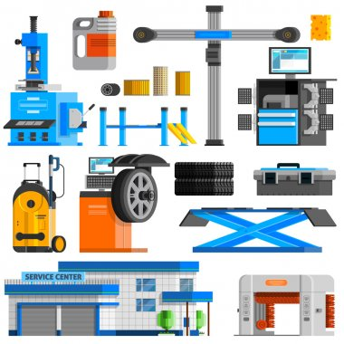 Auto Service Flat Decorative Icons Set