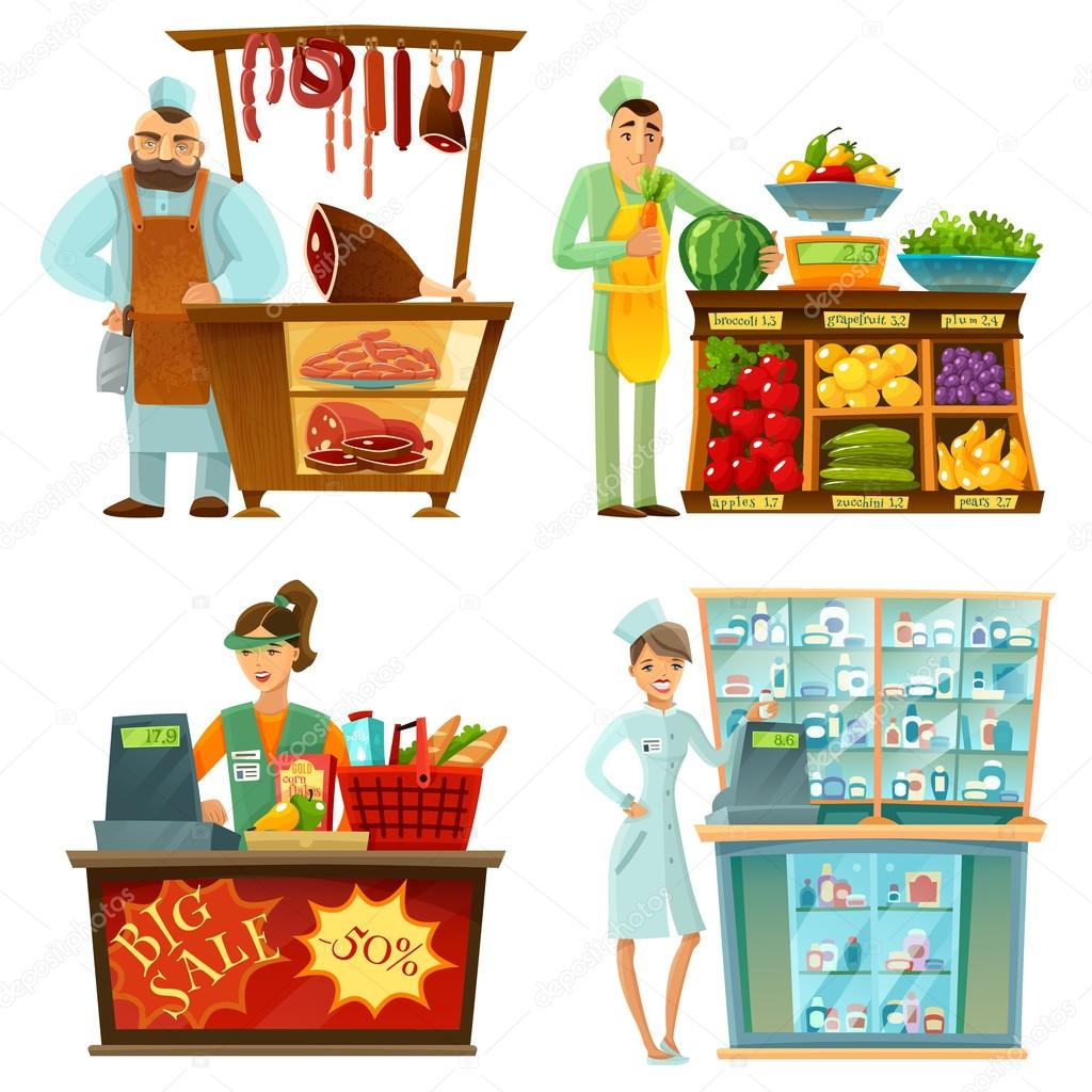 seller counter service 4 cartoon compositions set stock vector