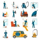 Průmyslové úklidové služby ploché ikony nastavit