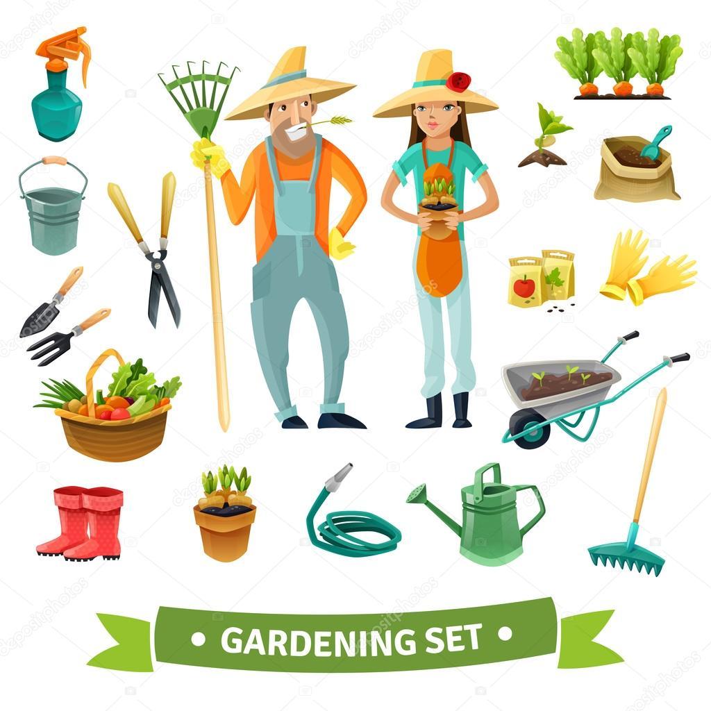 Tuinieren cartoon set stockvector macrovector 113871126 for Elementos de jardineria